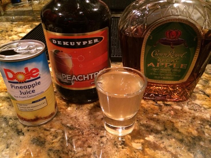 The SSDD! A fantastic shot! Equal parts crown royal apple, peach schnapps, and pineapple juice! #ssdd #shot #drinks