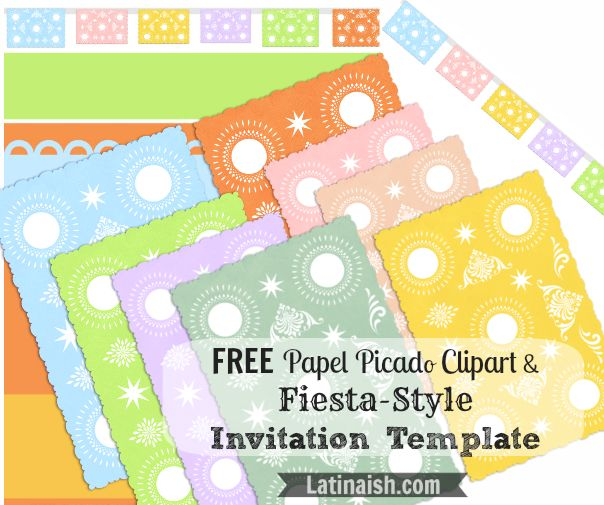 Free Papel Picado Clipart And Fiesta Style Invitation Templates Totally Free To Use
