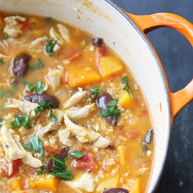 Hearty Chicken Stew with Butternut Squash & Quinoa Recipe. Really good!
