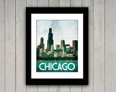 Chicago Travel Print 16x20 Windy City Vintage Style Poster in Vibrant Aqua, Rich Green, Cream Textures. $40.00, via Etsy.
