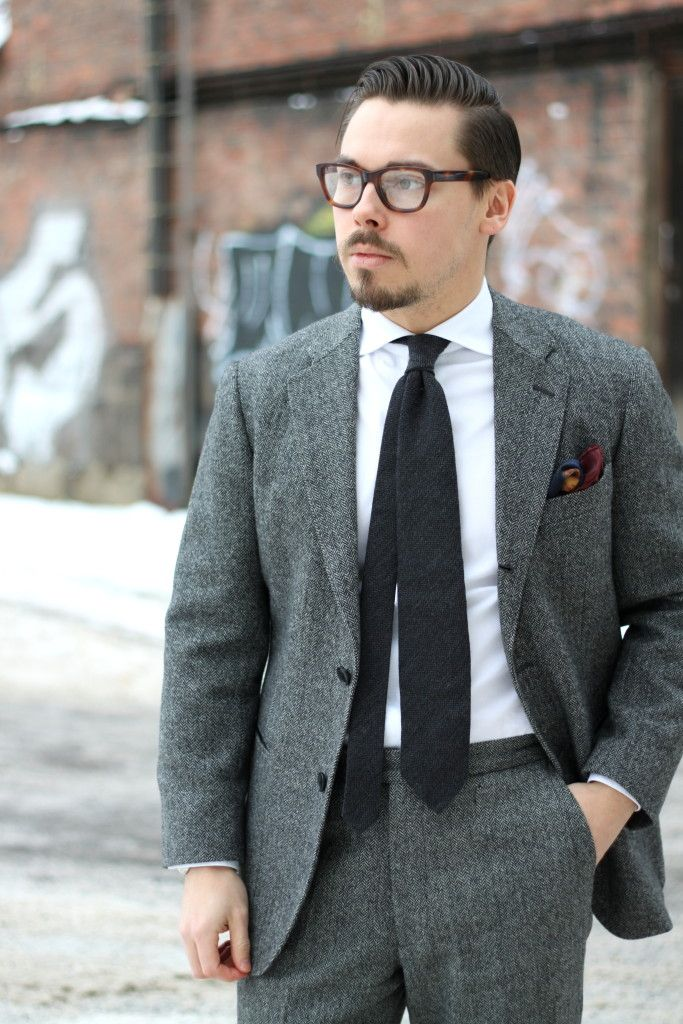 Gray herringbone wool suit with white shirt and gray wool tie