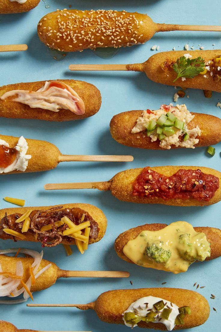 Whether you make homemade baked corn dogs from your favorite recipe (Jiffy mix forever), or pick up a box of premade ones at the store, don't forget the toppings! These 10 combinations are the best way to dress up a corn dog (or a hot dog, really) to make it a truly special - not to mention EASY - and delicious meal. Consider this delightful nostalgic food for your next summer party by the pool.