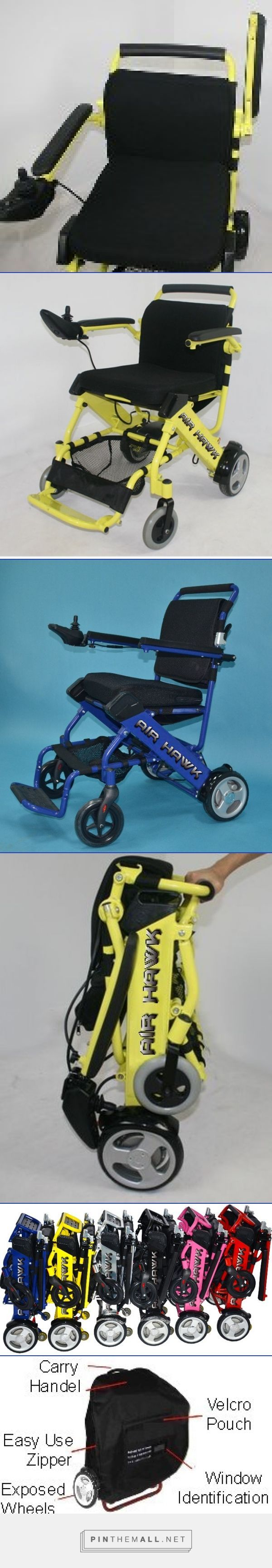 The lightest portable electric wheelchair  that goes off terrain, folds in under 5 seconds, and fits into a trunk. The Air Hawk Portable Lightweight Power Wheelchair. - created via https://pinthemall.net