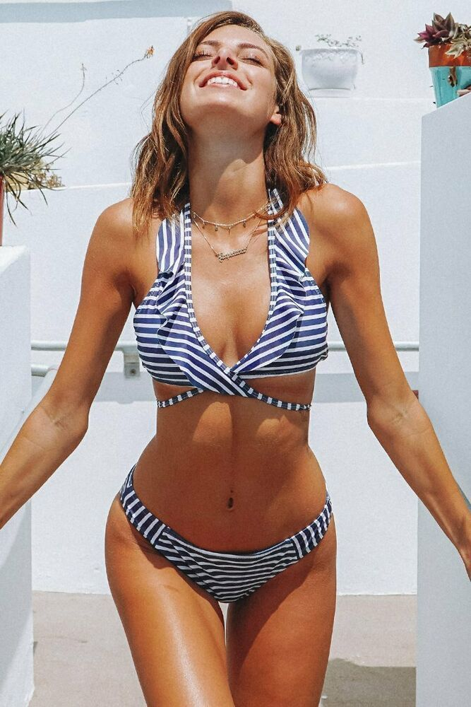 CUPSHE Purple White Stripe Bikini Set Ruffle Wrap Top Striped Bottoms M #Cupshe …