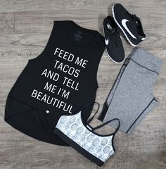 Taco Lover + Grey Heather Mesh Fitness Pants + Pineapple sports bra = Perfect outfit   Love Fitness Apparel