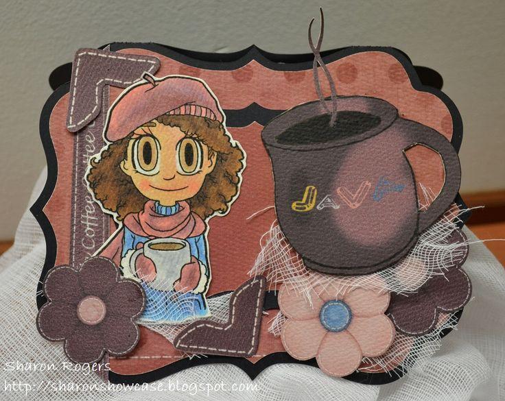 Some Odd Girl, Cameo Silhouette, coffee, Handmade Card, http://sharonshowcase.blogpsot.com
