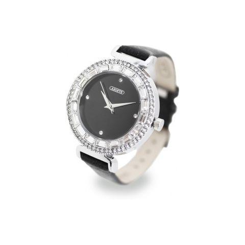 ラウンドフェイススクエアクリスタル時計/ブラック(ABISTE [アビステ] の時計)