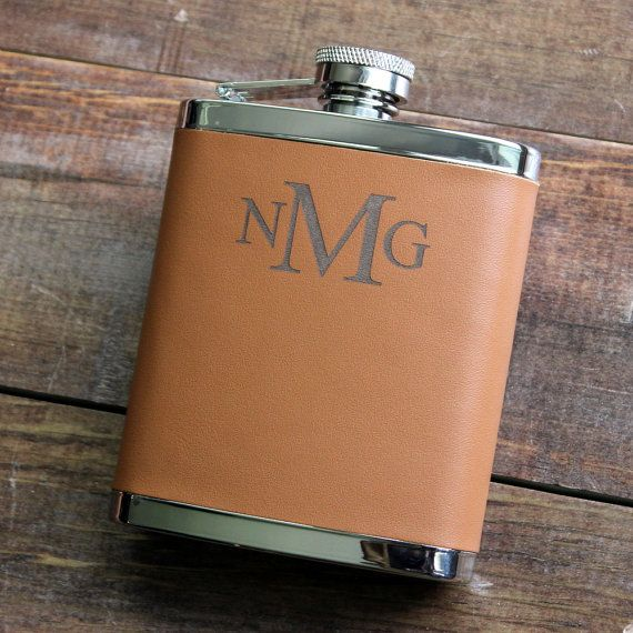 7 oz. Brown Leather Hip Flask  Personalized by TheBestManGifts