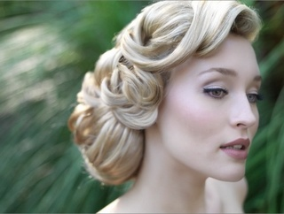 Wavy updo for wedding