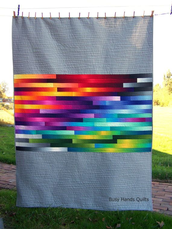 Twin Quilt, Quilts For Sale, Sunrise Over the Horizon, Modern Quilt, Handmade Quilt, Rainbow Quilt, Ombre Quilt, Busy Hands Quilts