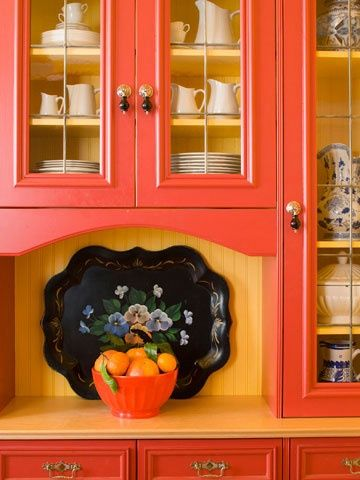 Add Color To Your Kitchen. Orange CabinetsChina ...