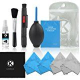 Professional Camera Cleaning Kit for DSLR Cameras (Canon, Nikon, Pentax, Sony) including 1 Double Sided Lens Cleaning Pen / 1 Bottle of Alcohol Free Optical Lens Cleaning Fluid / 1 Booklet of 50 Sheets Lens Cleaning Tissue / 1 Lens Brush / 1 Air Blower / 5 Microfiber Cleaning Cloths (with cleaning fluid)