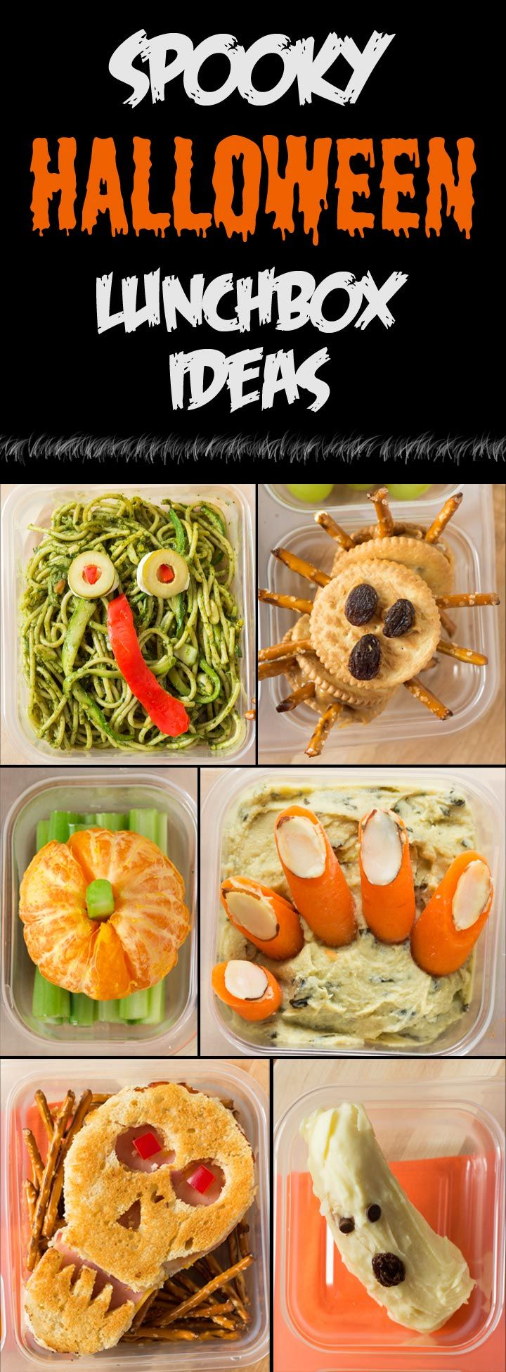 Spooky Halloween Lunchbox Ideas - creepy, crawly, and healthy ways to pack lunchboxes for Halloween!