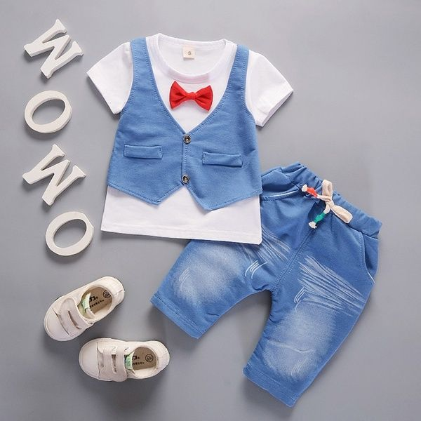 Newborn Toddler Baby Boy Kids T Shirt Tops Pants Clothes Outfits Gentleman Set