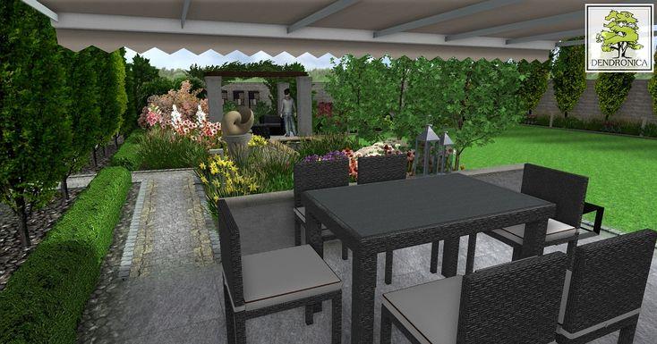 Kraków - mały nowoczesny ogród z dużym domem mieszkalnym. Ogród wielofunkcyjny, gdzie znalazło się miejsce na wypoczynek, plac zabaw oraz warzywnik.