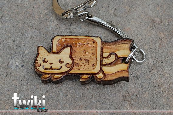 Laser cut and engraved Nyan Cat wood keyring