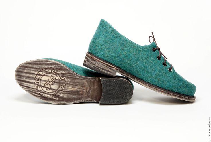 """Купить Валяные туфельки """"Изумрудное побережье"""" - морская волна, обувь ручной работы, обувь на заказ"""