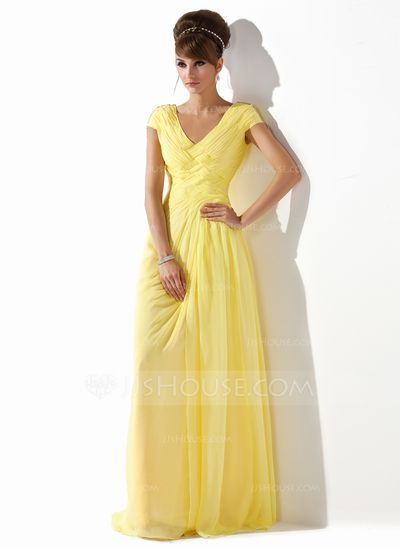 Love this yellow gown as a bridesmaid's dress for a yellow wedding!!  A-Line/Princess V-neck Floor-Length Chiffon Prom Dress With Ruffle Beading (018005580)