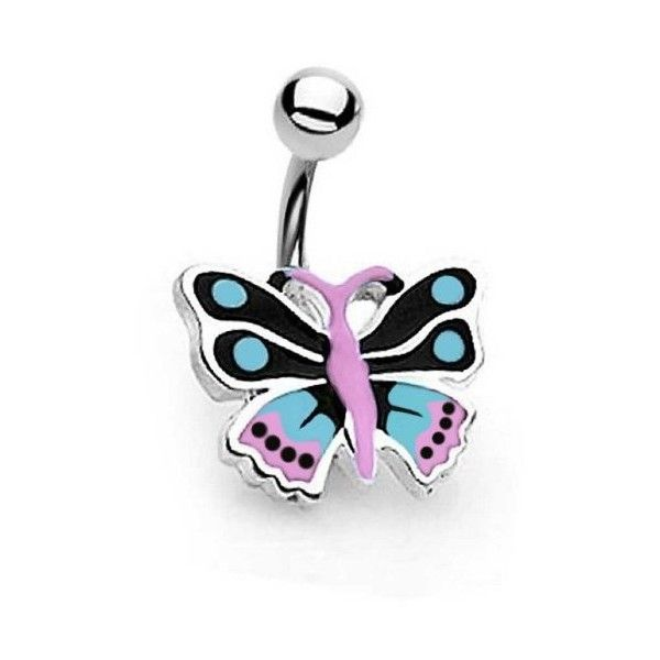 Bling Jewelry Blue Pink Enamel Butterfly Belly Button Navel Ring 316L... ($9.99) ❤ liked on Polyvore featuring jewelry, blue, body jewellery, blue butterfly jewelry, blue steel jewelry, butterfly jewelry and steel body jewellery
