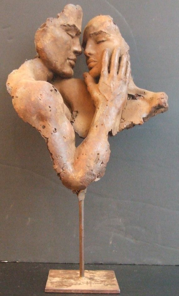 ~ First Touch - Sculpture by Hindi ~ man and woman - hand touching face - nose to nose - close - intimate