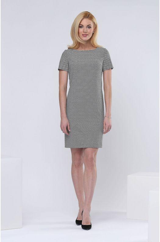 Женская одежда г.Пенза. Платье с коротким рукавом, с выточками от боковых швов по верху. Цвет: принт черно-белый.