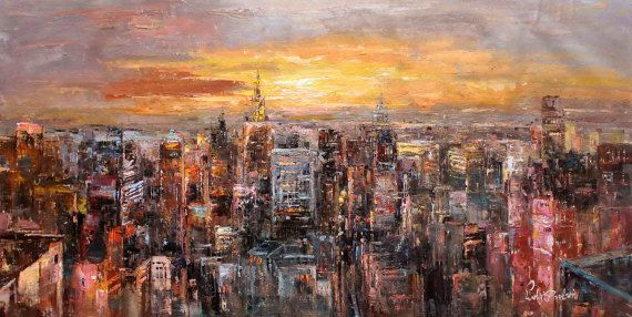 30x60 Manhattan at Sunset Empire State Building  by LuigiPaulini