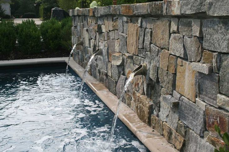 Wall Fountains Outdoor Pool with natural stones garden