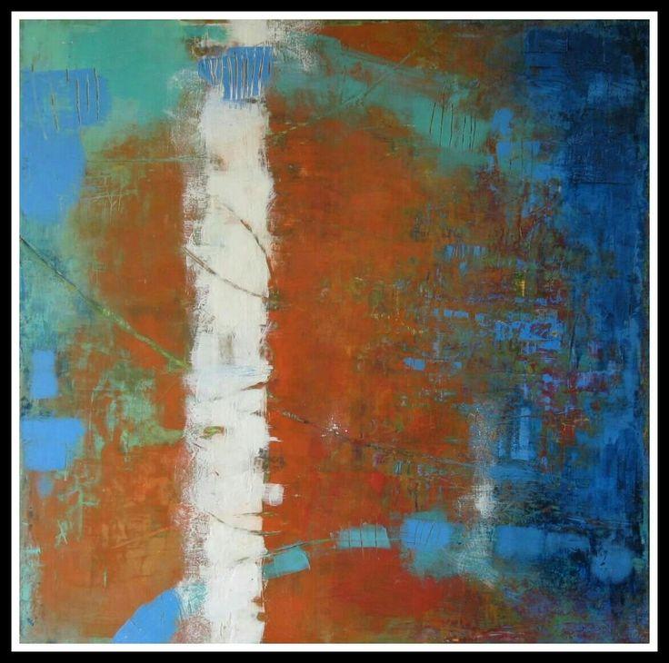 """""""La solitudine del bianco"""" 80×80 Oil and cold wax"""