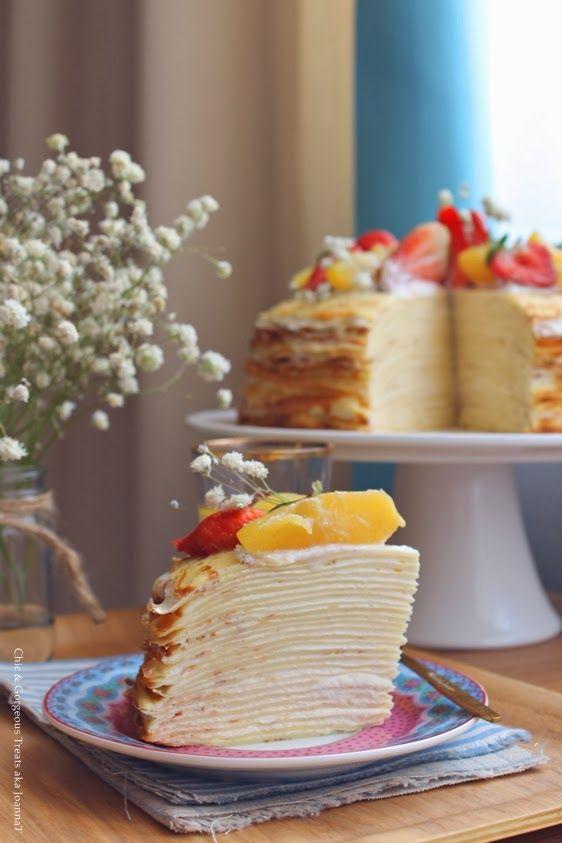 Vanilla Custard Crêpe Cake via Chic & Gorgeous Treats #recipe