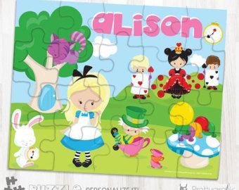 SALE Alice in wonderland personalized puzzle, 20 pieces puzzle, name puzzle, Personalized name puzzle, Kids Personalized Gift - PU134