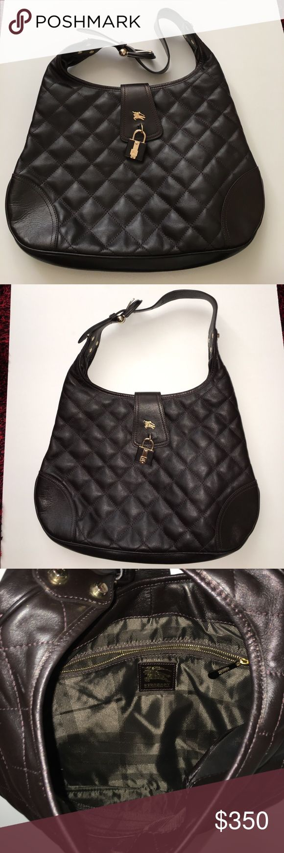 """BURBERRY HOBO QUILTED BROWN LEATHER BAG NWOT. BURBERRY HOBO QUILTED BROWN LEATHER BAG.      Size: Length: 16"""", Height: 11"""", Depth: 2"""", Drop: adj"""". Burberry Bags Hobos"""