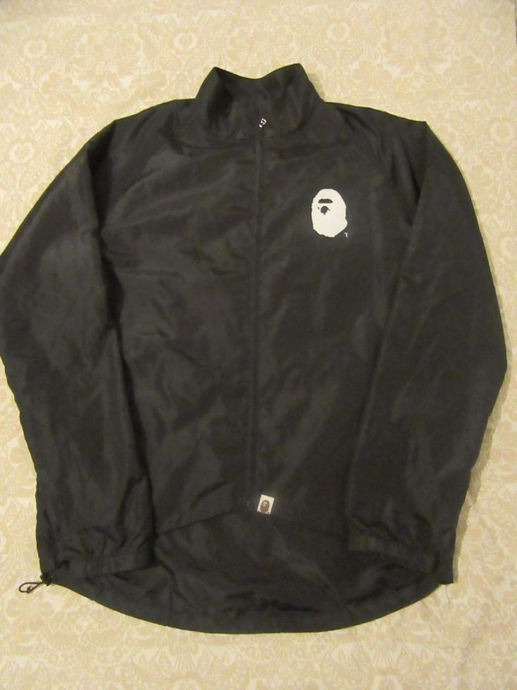 bape a bathing ape black wind breaker sz XL #Bape #Windbreaker
