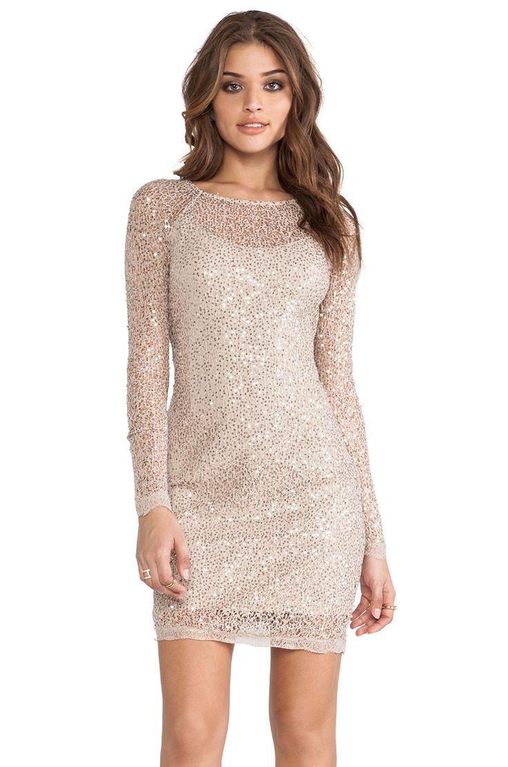 Halston heritage long sleeve sequin dress in gold from for Long sleeve sequin wedding dress