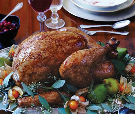 Roast Turkey Recipe.  Also add frozen butter and herb under the skin and rub lemon and butter all over the turkey and within the cavity.