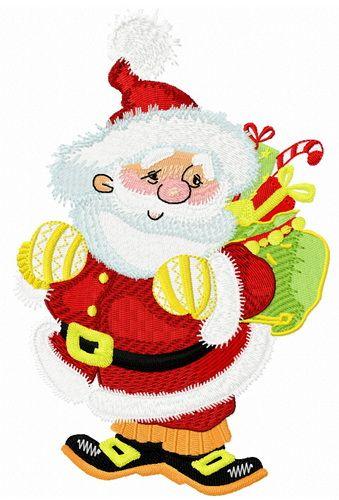 3a2d87b3a73d6 Kind Santa machine embroidery design. Machine embroidery design.  www.embroideres.com  orange  bag  Christmas  winter  holiday  gift   SantaClaus  presents ...
