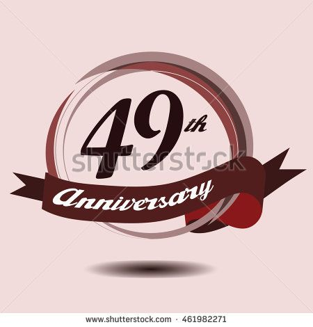 49th anniversary logo with circle composition soft chocolate color and ribbon