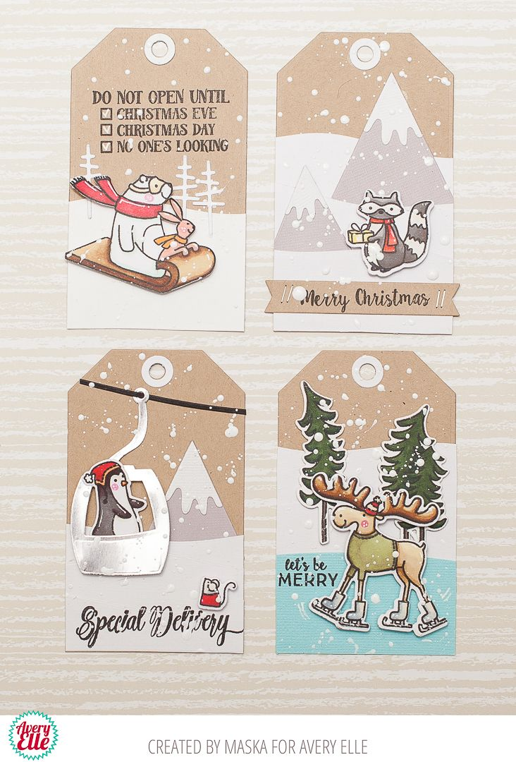 a cute holiday card an adorable tag set tags winter holidays