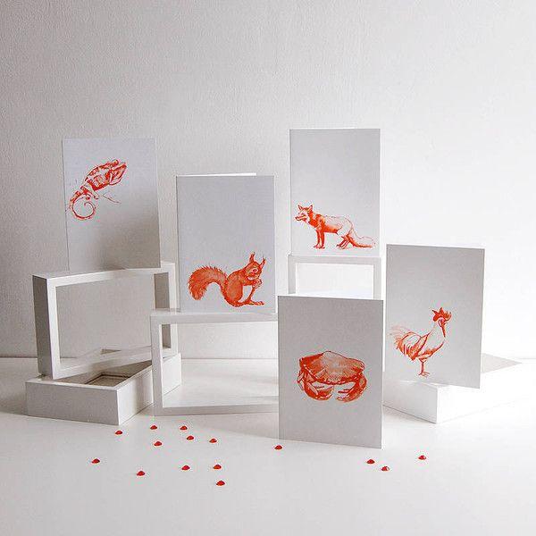 Set of Five Ilustrated Animal Cards — Katy Hudson for Polar
