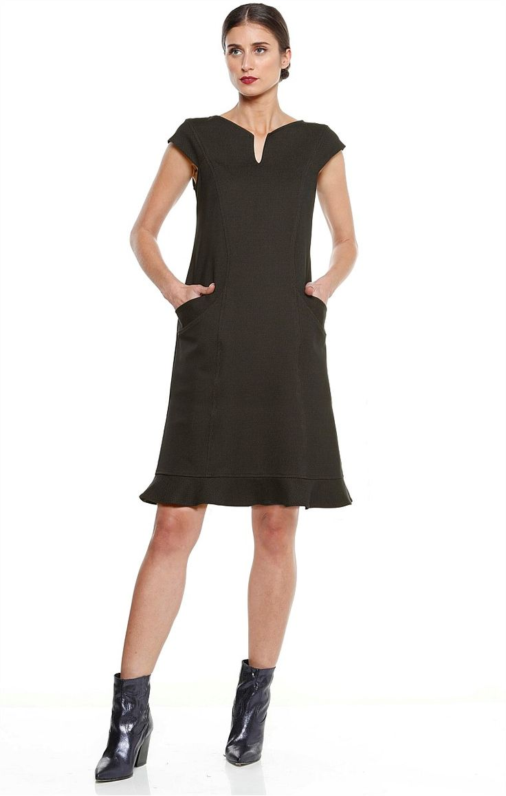 DI SANTO PONTI FRILL HEM CAP SLEEVE TUNIC DRESS IN OLIVE