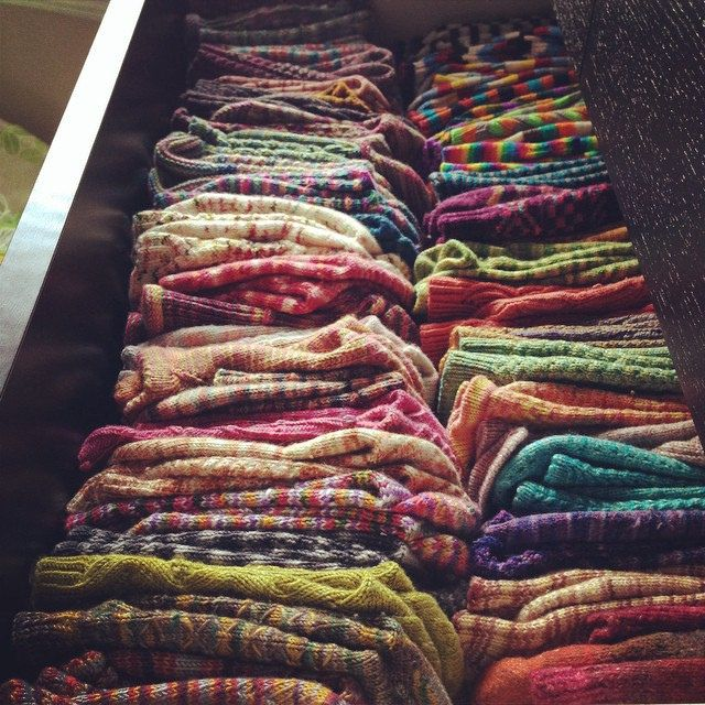 My sock drawer is finally upgraded from a Rubbermaid organizer to an actual dresser drawer. It overfloweth still. 12 pairs went to retirement. That first row? All Socks That Rock #operationsockdrawer #socks #knitting #socksthatrock #bmfa