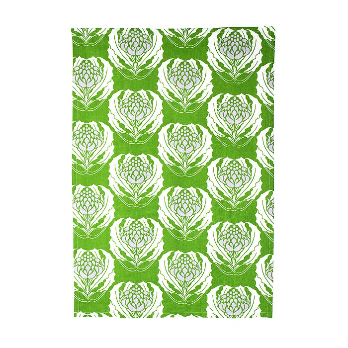 Organic Cotton Green Waratah Tea Towel. Screen printed with eco-friendly dyes in a bright and fresh repeat Waratah pattern $12.95. http://www.greengiftsaustralia.com.au/shop/index.php?main_page=product_info&cPath=2_59&products_id=261