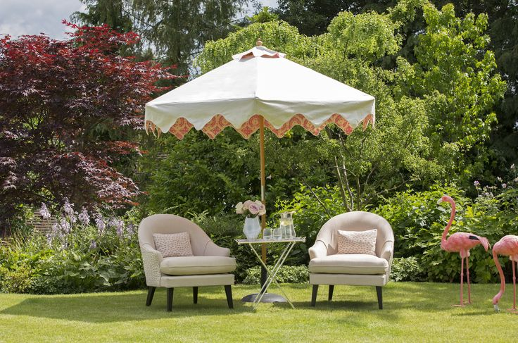 Coco Wolf outdoor Therese Chairs with Perennials fabrics