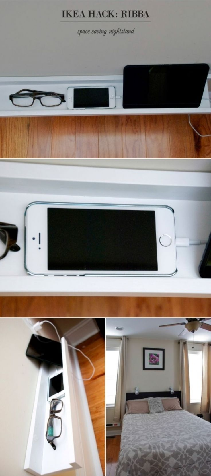 "33 Ikea #Hacks Anyone Can doThis takes a ""Tibba"" picture ledge and makes it into a nightstand - great to store all those bits.  .  ..."
