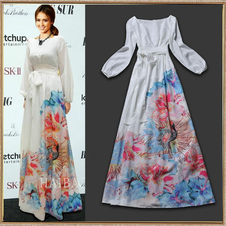 Floral Sleeved Chiffon Maxi | New Fashion 2014 High Quality Women's Cute Charming Print Long Sleeve Silk Celebrity Party Maxi Long Dress-inDresses from Apparel Accessor... | tags: hijab, hijab style, hijab fashion