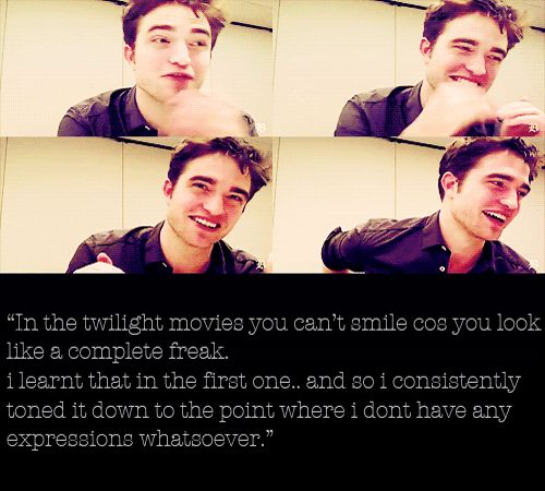 """""""...The more I read the script, the more I hated this guy, so that's how I played him, as a manic-depressive who hates himself."""" Robert Pattinson hates Edward Cullen ((link))"""