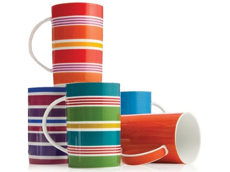 Tablefair Rainbow Porcelain Coffee Mugs