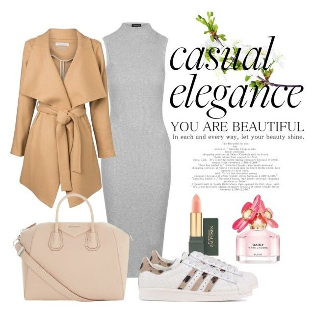 Casual Elegance by neeacamillaa on Polyvore featuring Topshop, adidas Originals, Givenchy, MAC Cosmetics and Marc Jacobs