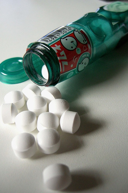 Soda-flavored sweet tart candies by Japanese candy and carbonated drink maker Ramune in original unique packaging, Japan, 2006, photograph by Sugar High (photographer unattributed).