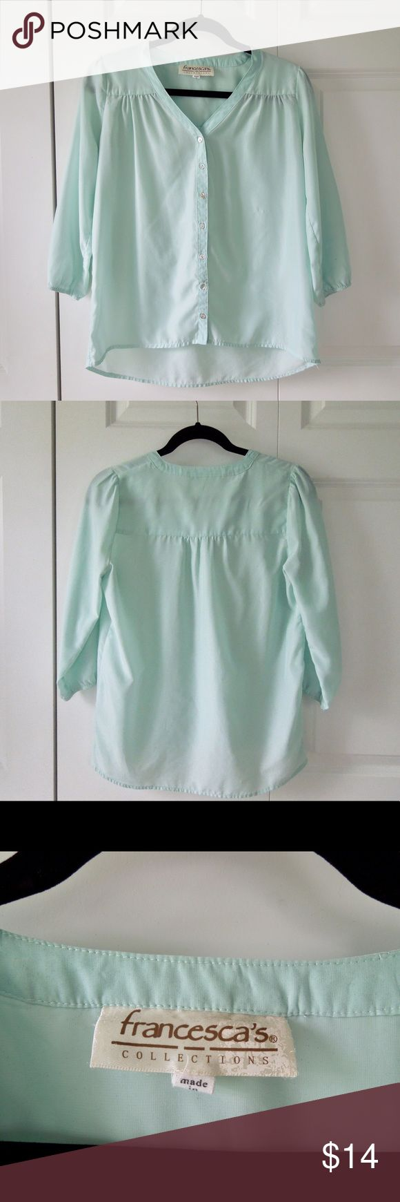 Mint Button Down Cute button down in a beautiful mint color. Lightweight and good for a preppy outfit. Francesca's Collections Tops Button Down Shirts