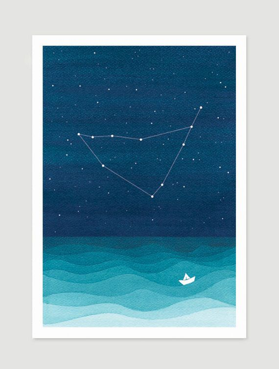 Watercolor painting Capricorn zodiac constellation giclee print nautical wall decor starry night sky home teal art by VApinx